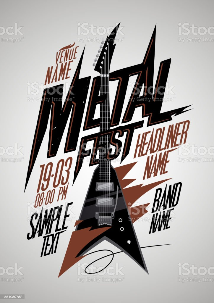 Retro style metal fest poster design with v style electro guitar vector art illustration