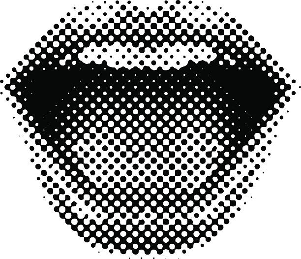 stockillustraties, clipart, cartoons en iconen met retro style mouth laughing - mond open
