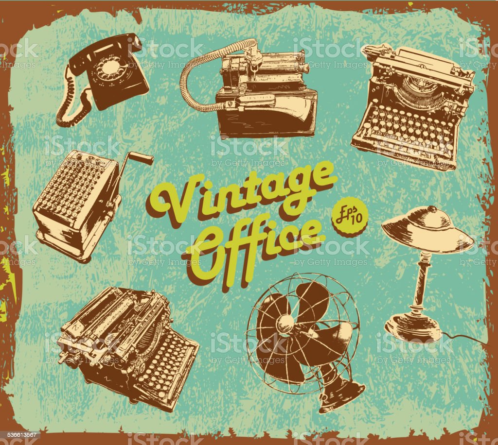 Retro style of assorted vintage desk items green vector art illustration