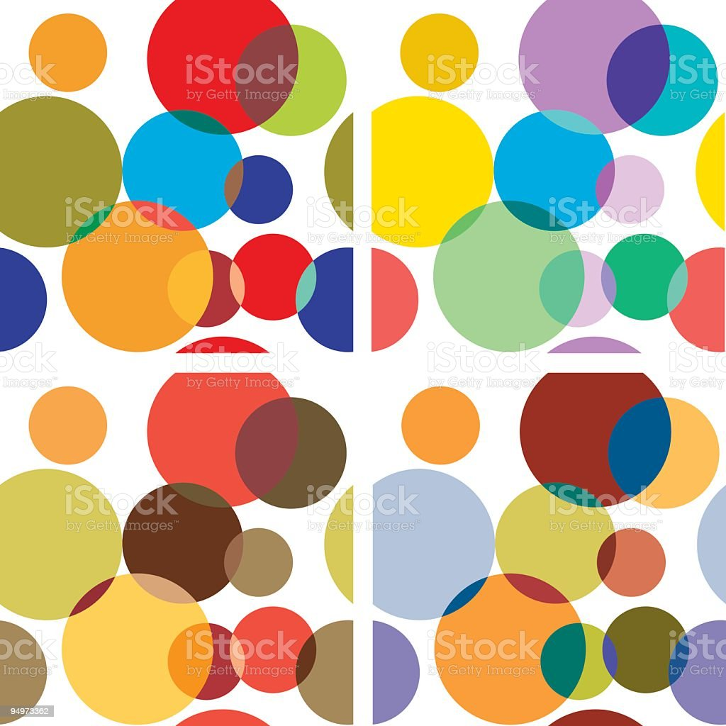 Retro style Polka Dot Seamless background in different color combinations. Seamless repeat. Retro style background in four different color combinations. Polka Dot Seamless background in four different color combinations. Retro coloured overlapping polka dots seamless wallpaper pattern. Funky polka dots in multiple colors. 1960-1969 stock vector