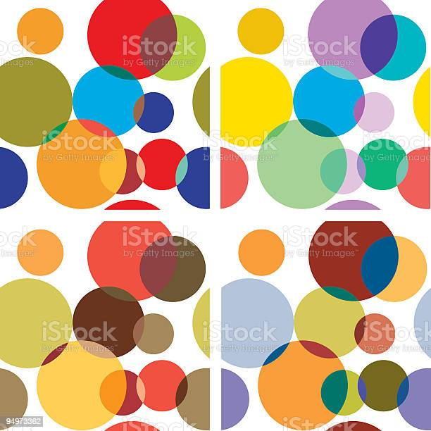Retro Style Polka Dot Seamless Background In Different Color Combinations Stock Illustration - Download Image Now