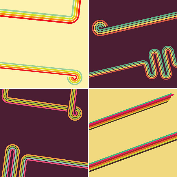 retro style popart line backgrounds - 1970s style stock illustrations, clip art, cartoons, & icons