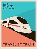 Retro style poster Travel by train. To create advertising for travel agencies. Interior design