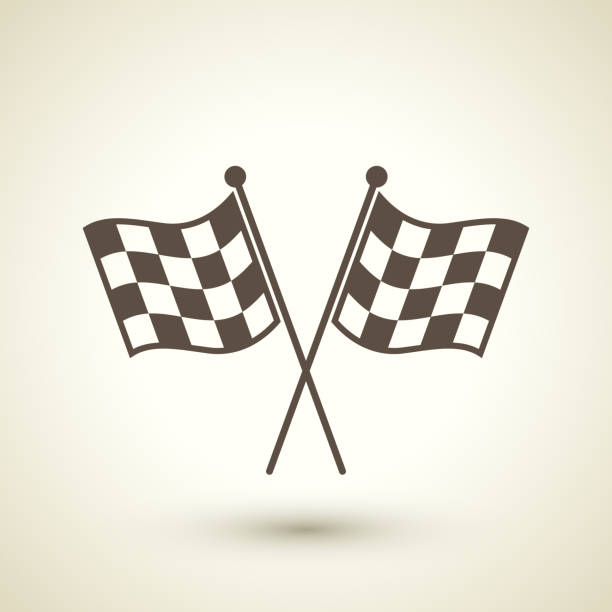 retro style race flag icon - finnish flag stock illustrations, clip art, cartoons, & icons
