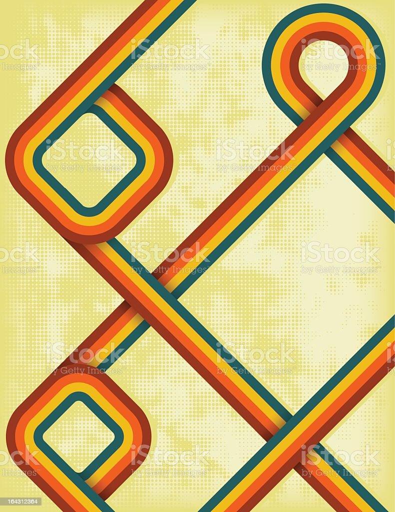 Retro style rainbow design against a yellow background vector art illustration