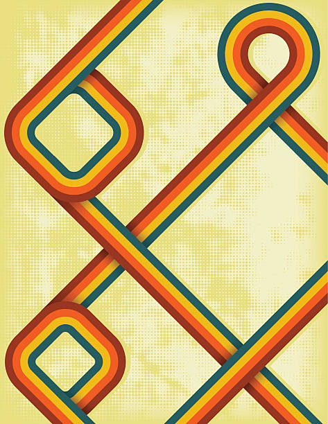Retro style rainbow design against a yellow background