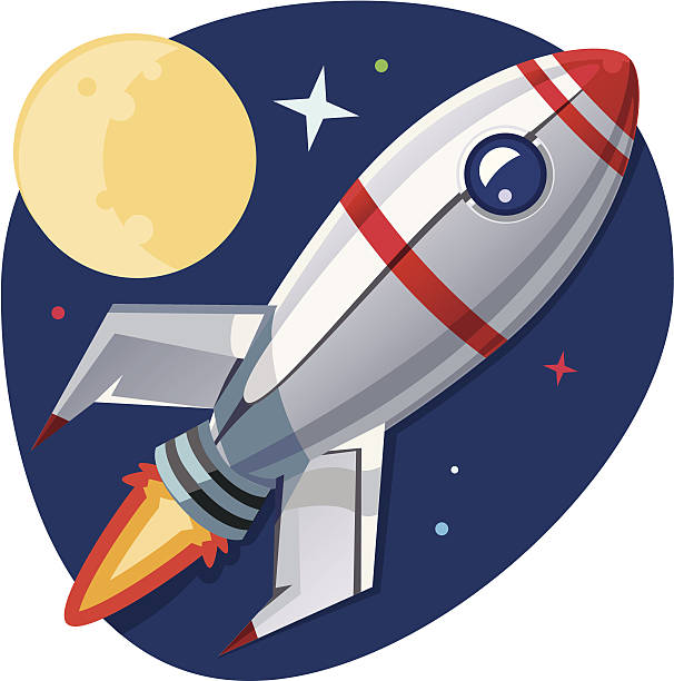 retro style rocket in space illustration - space exploration stock illustrations, clip art, cartoons, & icons
