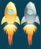 retro style rocket
