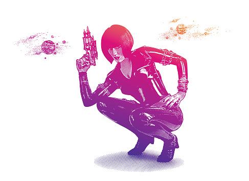 Retro style Sci Fi woman aiming ray gun