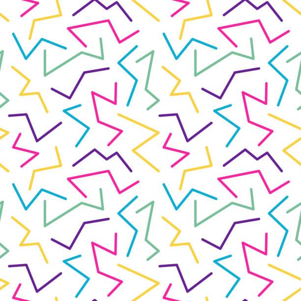 illustrazioni stock, clip art, cartoni animati e icone di tendenza di retro style seamless pattern, banner template - zigzag