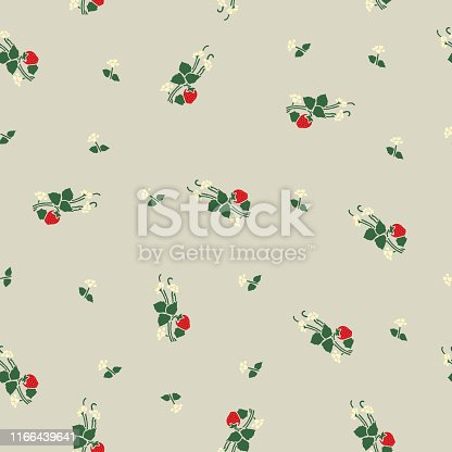 Decorative retro style seamless strawberry floral pattern.