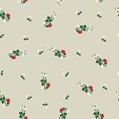 Decorative retro style seamless strawberry floral pattern.