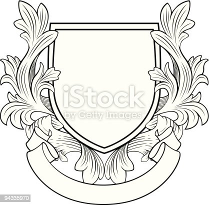 istock Retro Style Shield and Banner 94335970