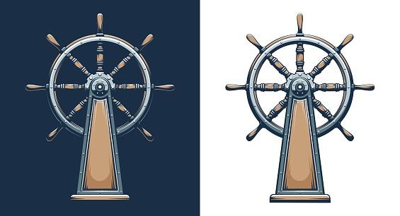 Retro style ship wheel