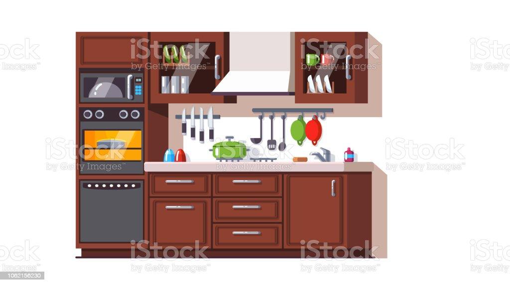 Retrostil Kleine Küche Interieur Mit Geräten ...