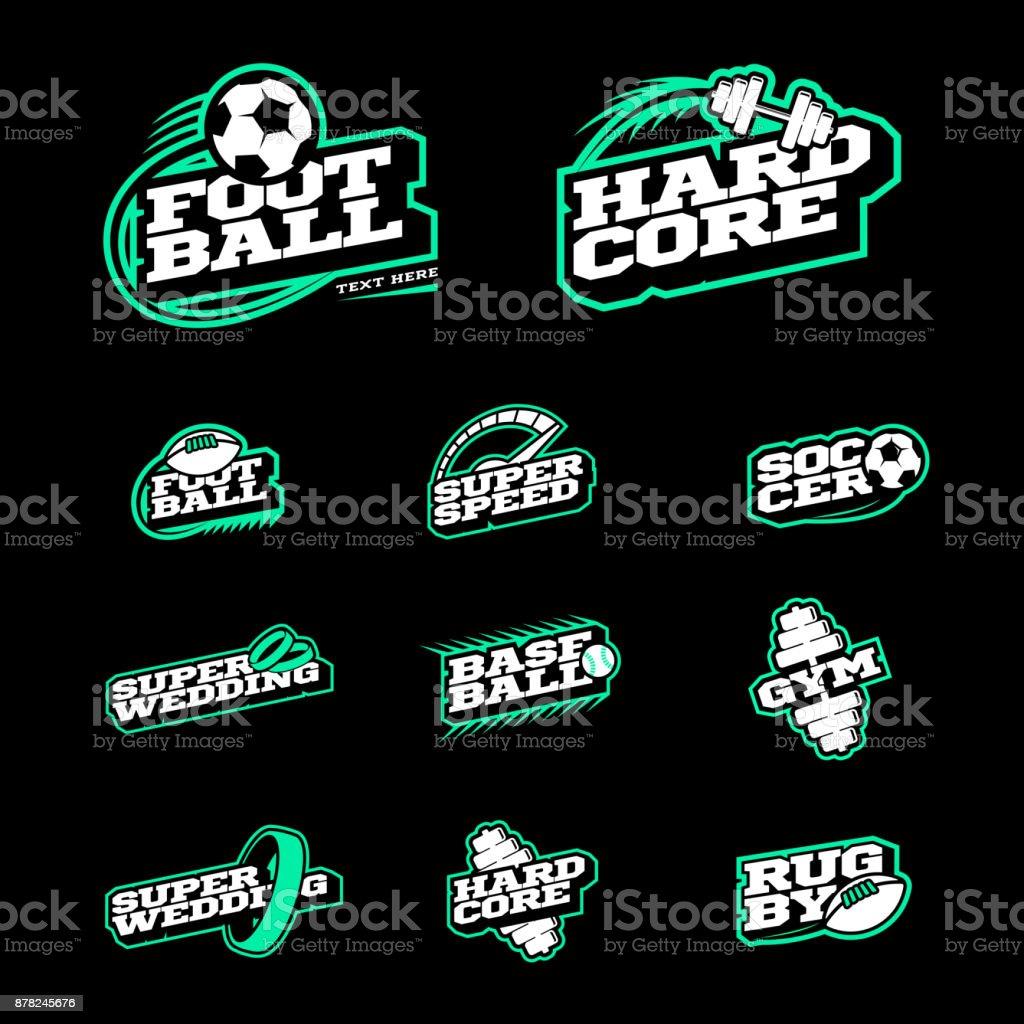 Jeu d'icônes de sport style rétro. Soccer, Baseball, rugby, football, emblème de la salle de gym et texte icontype de mariage. style de deux couleurs sur fond noir - Illustration vectorielle
