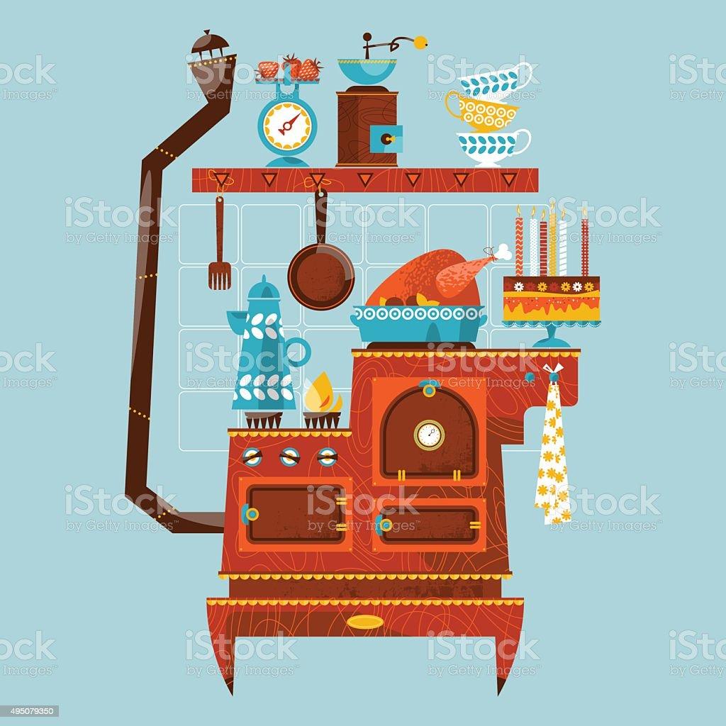Retro Style Stove With Vintage Kitchen Appliances Utensils Stock Illustration Download Image Now Istock