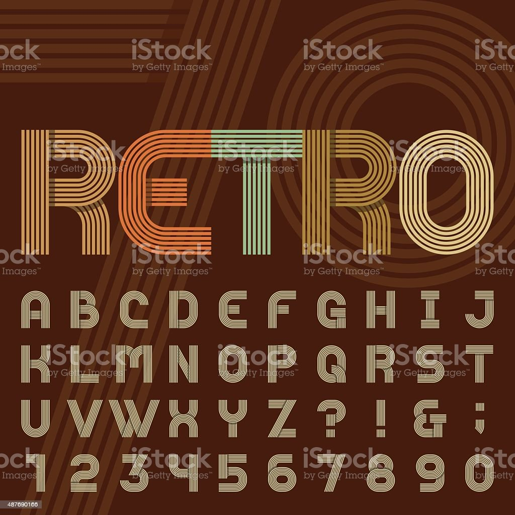 Retro style stripe alphabet vector font. vector art illustration