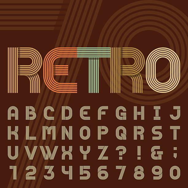 stockillustraties, clipart, cartoons en iconen met retro style stripe alphabet vector font. - seventies