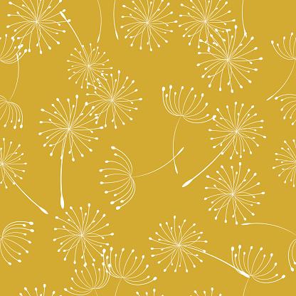 Retro Style Summer Weeds Seamless Pattern