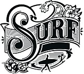 Retro victorian style surf symbol with calligraphic letters surfer and blank banner for customization.