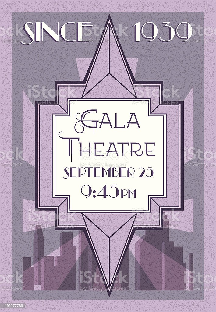 Retro style theatre poster, Art Deco  vector art illustration