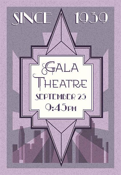 retro style theatre poster, art deco  - 1930s style stock illustrations, clip art, cartoons, & icons