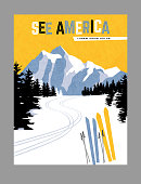 Retro style travel poster design for the United States.  Downhill skiing in the mountains. Limited colors, no gradients. Vector illustration.