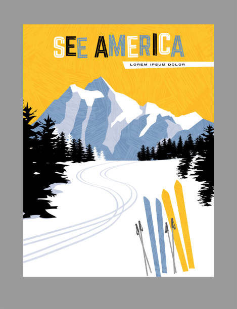 Retro style travel poster design for the United States.  Downhill skiing in the mountains. vector art illustration