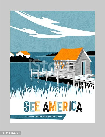 Retro style travel poster design for the United States. Generic image of boathouse on east coast. Limited colors, no gradients.  Vector illustration.
