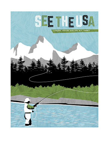Retro style travel poster design for the United States.  Man fly fishing in stream with mountain backdrop. Limited colors, no gradients, texture overlay. Vector illustration.