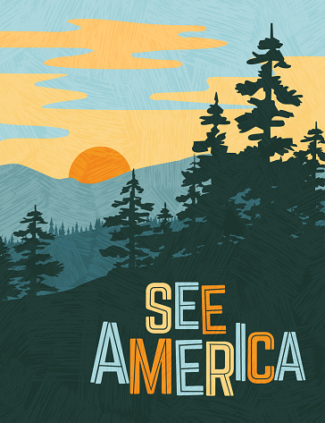 Retro style travel poster design for the United States. Scenic image of mountains and pine trees at sunset. Limited colors, no gradients. Vector illustration.