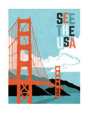 Retro style travel poster design for the United States.  Scenic image of Golden Gate Bridge. Limited colors, no gradients.  Vector illustration.