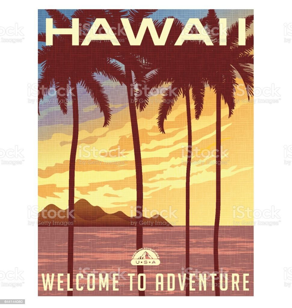 Retro style travel poster or sticker. United States, Hawaii sunset and palm trees.