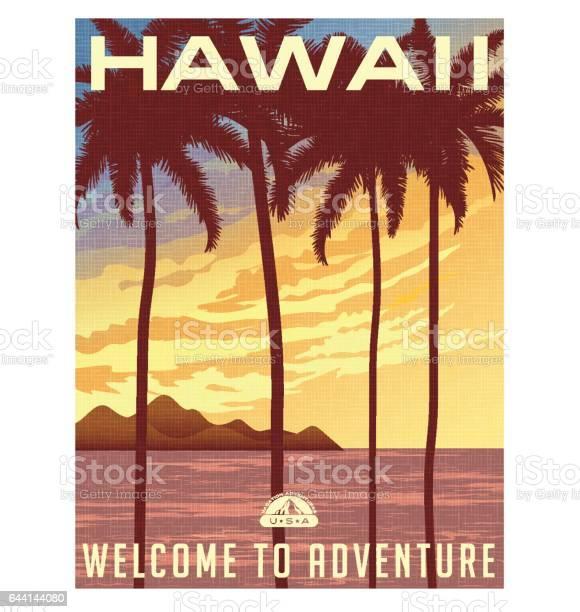 Retro style travel poster or sticker united states hawaii sunset and vector id644144080?b=1&k=6&m=644144080&s=612x612&h=x385uu7p nxasnvnnkjljidld4jtryzxpf5yclfwc4c=