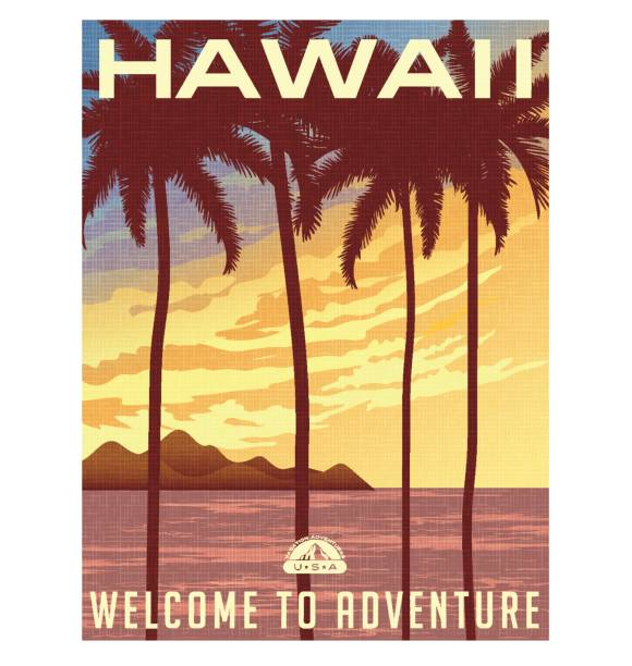 retro style travel poster or sticker. united states, hawaii sunset and palm trees. - postcard stock illustrations