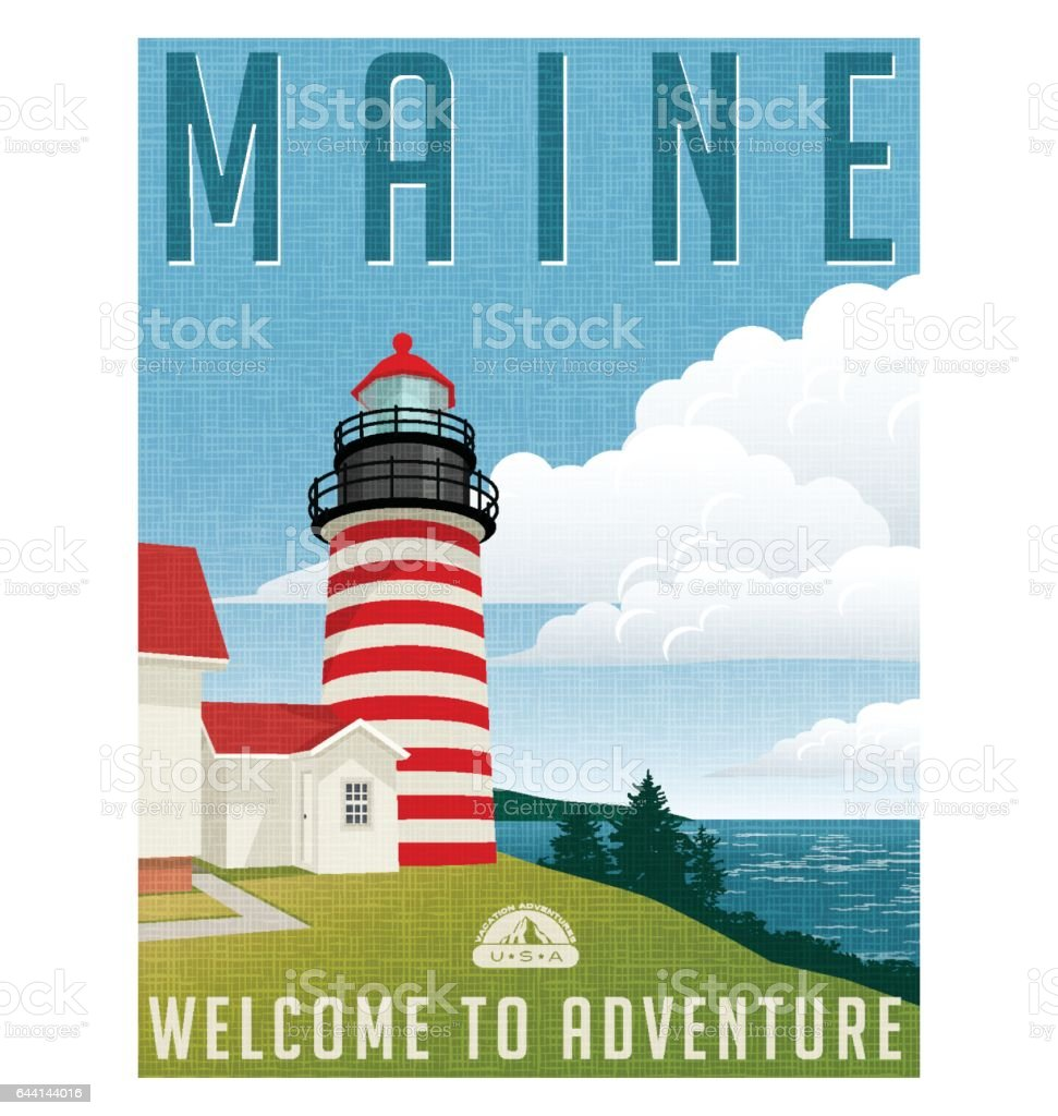 Retro style travel poster or sticker. United States, Maine lighthouse. vector art illustration