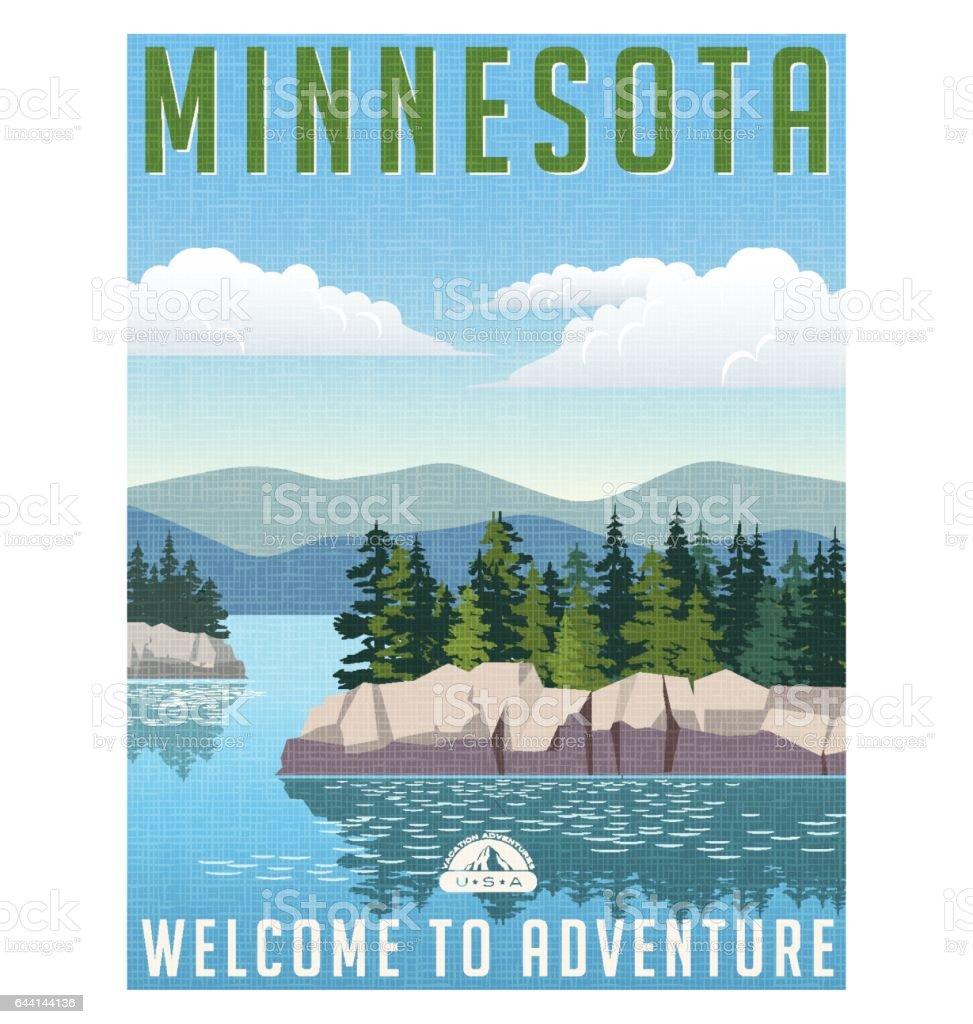 レトロなスタイルの旅行のポスターやステッカー。アメリカ合衆国、ミネソタ州の風光明媚な湖 ベクターアートイラスト