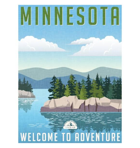 Cartel de viaje de estilo retro o etiqueta. Estados Unidos, pintoresco lago Minnesota - ilustración de arte vectorial