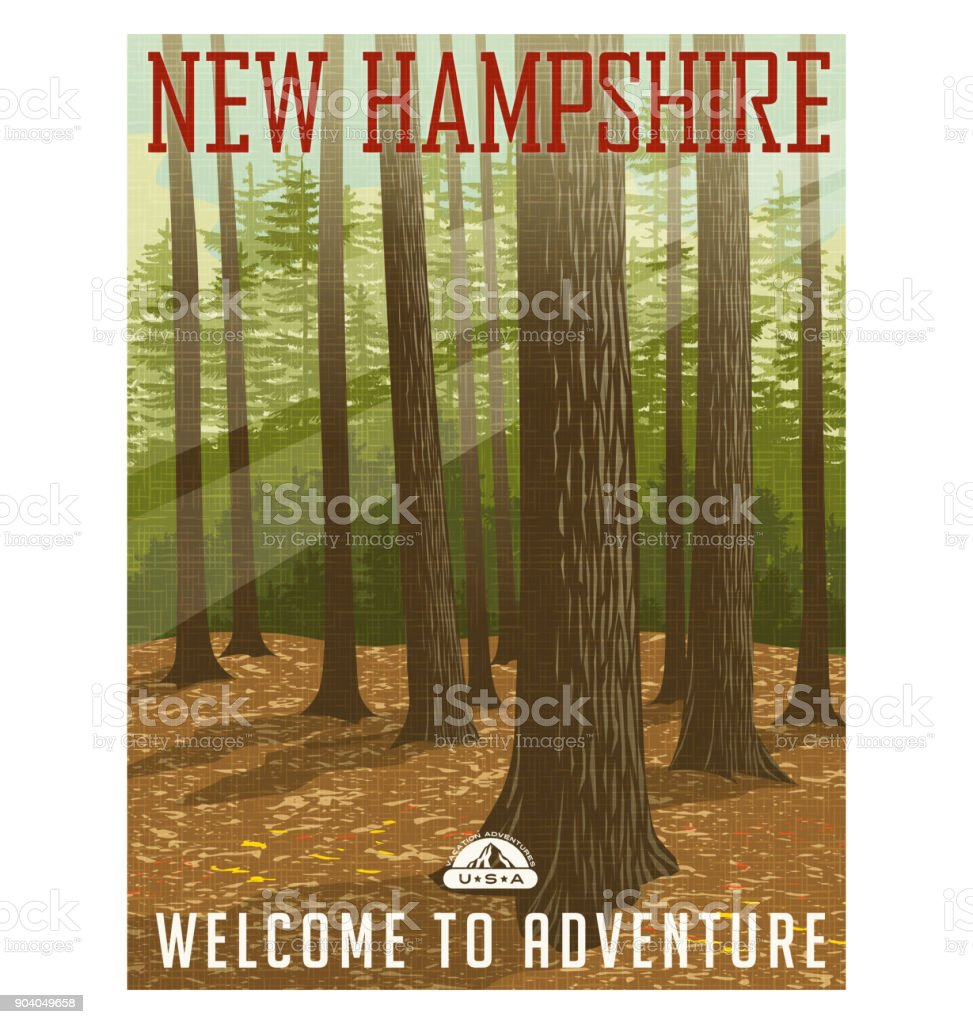 Retro style travel poster or sticker. United States, New Hampshire forest. royalty-free retro style travel poster or sticker united states new hampshire forest stock illustration - download image now