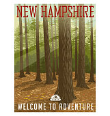 Retro style travel poster or sticker. United States, New Hampshire. Deep forest with sunlight filtering through.