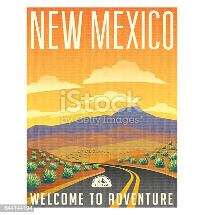 Retro style travel poster or sticker. United States, New Mexico desert mountain landscape.