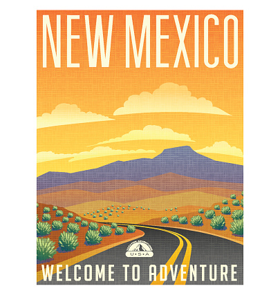 Retro style travel poster or sticker. United States, New Mexico desert mountain landscape.