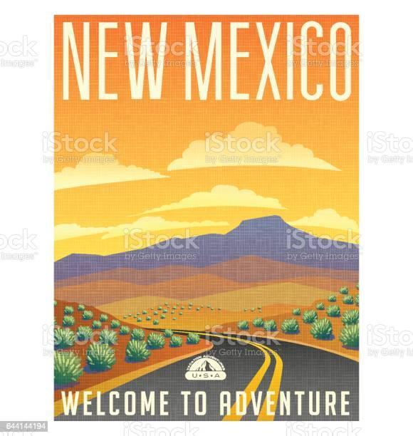 Retro style travel poster or sticker united states new mexico desert vector id644144194?b=1&k=6&m=644144194&s=612x612&h=kjtbj2rln75y4 yg i9wfpdbjic2h3gjdn1e8jq3azi=