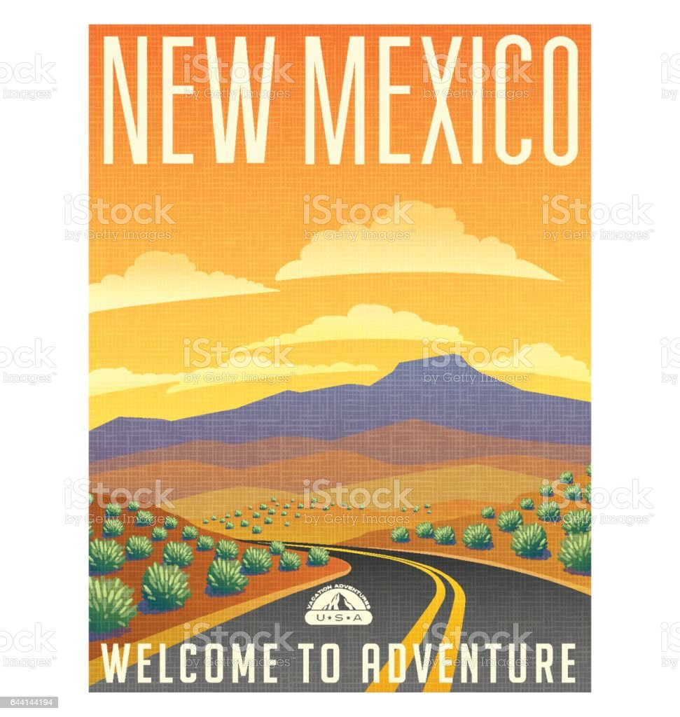 Retro style travel poster or sticker. United States, New Mexico desert mountain landscape. vector art illustration