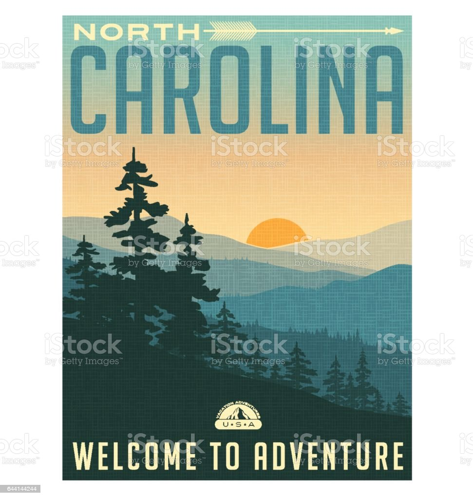 Retro style travel poster or sticker. United States, North Carolina, Great Smoky Mountains vector art illustration