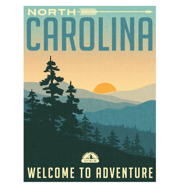 retro style travel poster or sticker. united states, north carolina, great smoky mountains - poster stock illustrations