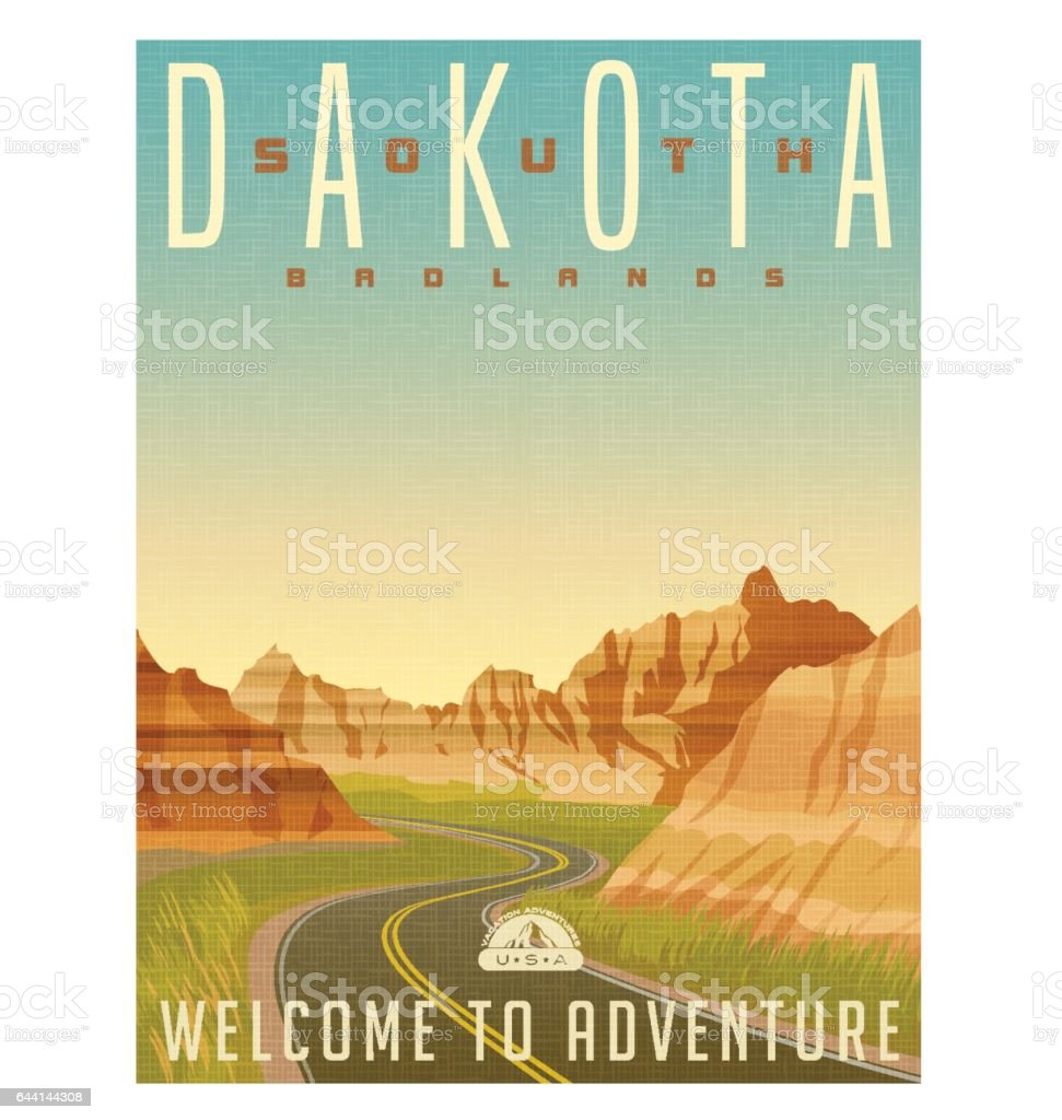 Retro style travel poster or sticker. United States, South Dakota, Badlands National Park vector art illustration