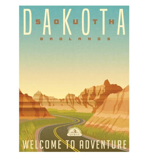retro style travel poster or sticker. united states, south dakota, badlands national park - rock formations stock illustrations