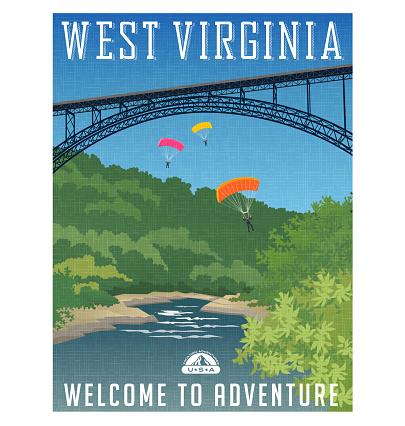 Retro style travel poster or sticker. United States, West Virginia, New River Gorge Bridge, Appalachian Mountains